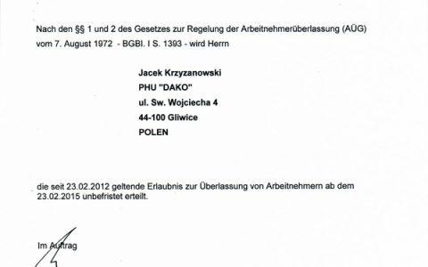 20150108-PHU-DAKO-Jacek-Krzyzanowski-Erlaubnis-Arbeitnehmeruberlassung_unbefristet-1