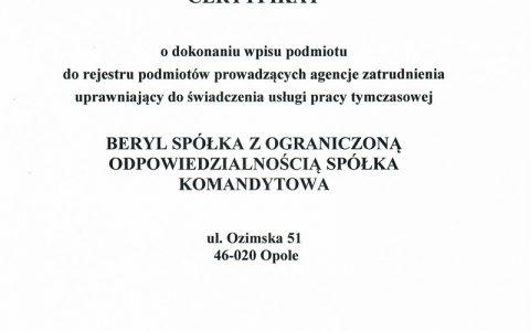 20200319-BERYL-Zertifikat-Eintragung-Register-der-Arbeitsagenturen_Marschall-der-Woiwodschaft-Opole_pl-1