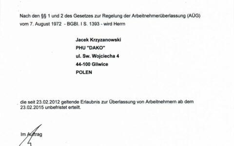 20150108-PHU-DAKO-Jacek-Krzyzanowski-Erlaubnis-Arbeitnehmeruberlassung_unbefristet-1-1