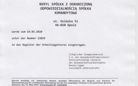 20200319-BERYL-Zertifikat-Eintragung-Register-der-Arbeitsagenturen_Marschall-der-Woiwodschaft-Opole_de-1